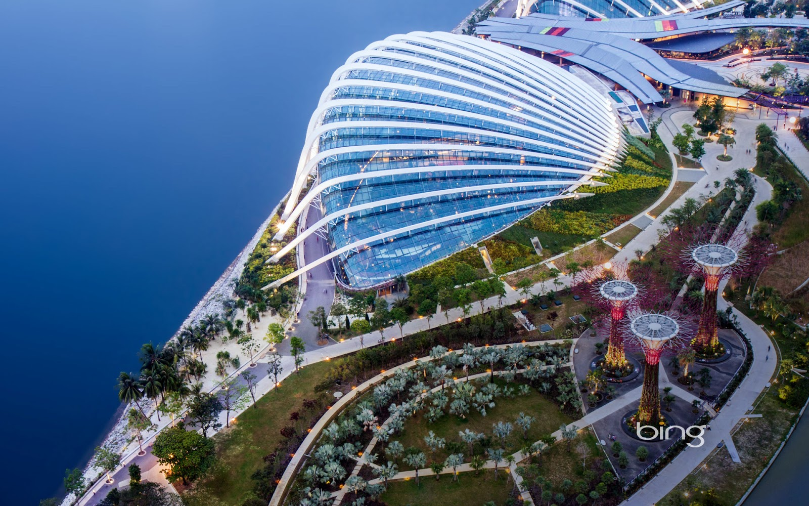 Aerial view of Gardens by the Bay and the Supertrees Grove, Singapore
