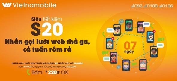 Đăng ký gói cước S20 Vietnamobile 200 phút nội mạng, 200SMS