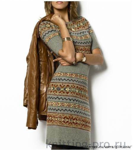 вязание спицами, платье, жаккард,