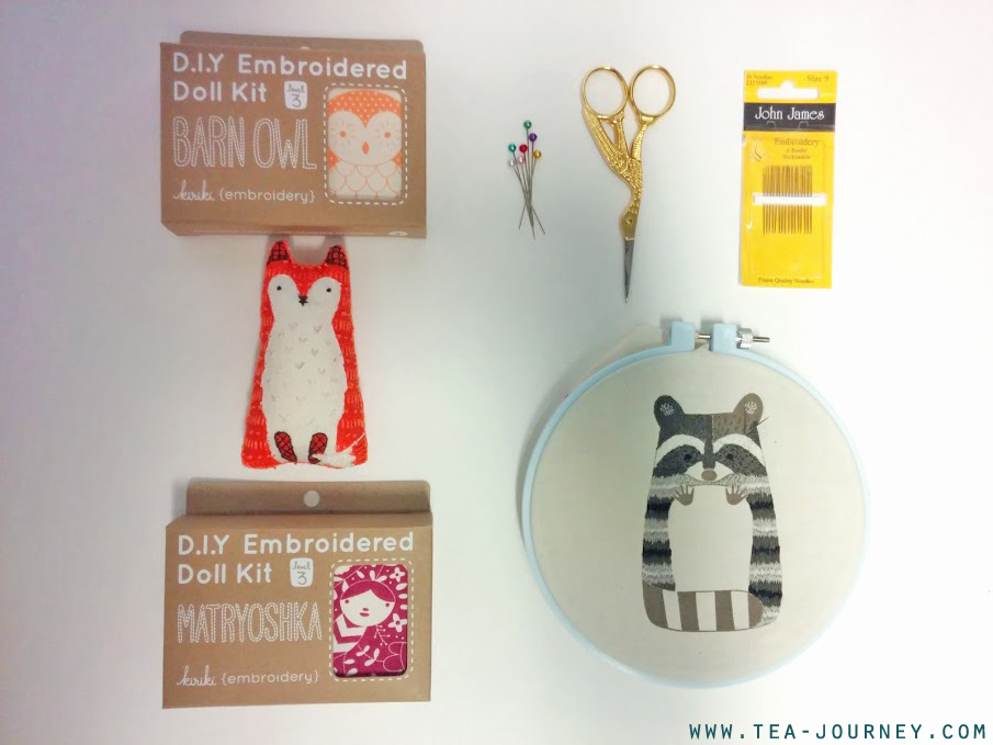 Learning embroidery for tea with Kiriki Press embroidery plush doll kits. Use the skills from the kits for creating your own tea mat or embellishing anything with a little fun and love. fox barn owl racoon