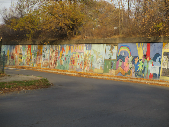 mural on a curve in Springwells Village Detroit