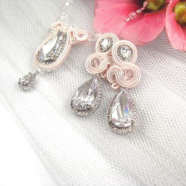wiszące kolczyki ślubne soutache różowe