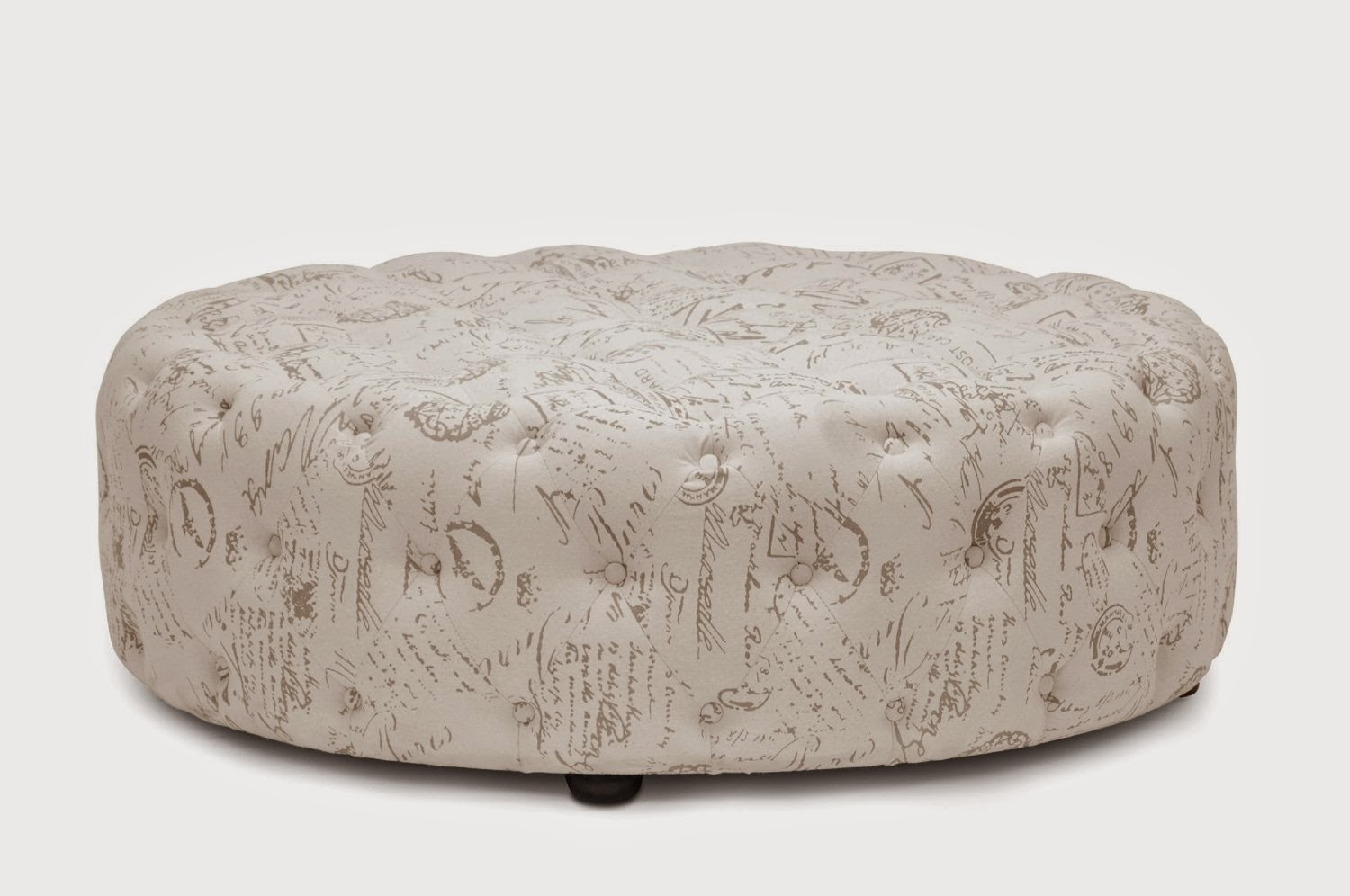 Baxton Beige round tufted ottoman coffee table - Round Ottoman Coffee Table: Round Tufted Ottoman Coffee Table