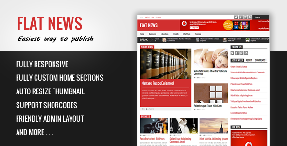 Flat News - Easy News & Magazine Template Free Download