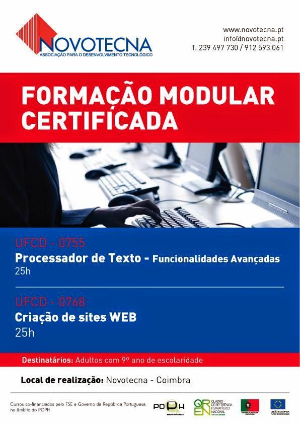 Formação modular certificada em Coimbra (Processador de Texto e Criação de Sites)