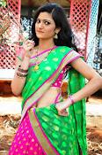 Pujitha sizzling in half saree-thumbnail-2