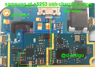 Jumper Ways Samsung S5253 Usb Charging Problem Solution    If you Get Charging or Usb Connector Is Not Working Samsung S5253 Problem. Check This Line and if get any line is short please make this jumper use copper coil. You can solve your Samsung S5253 Mobile phone charging problem.