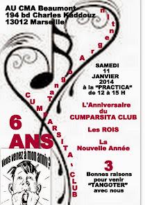 JANVIER 2014 - 6ème anniversaire du CUMPARSITA CLUB