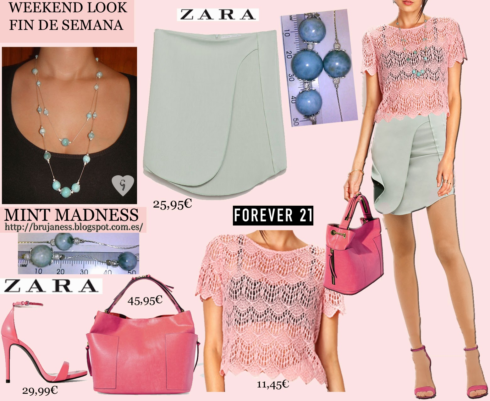 Weekend, look, what to wear, mint, pink, pastel, sandals, zara, forever 21, larimar, brujaness, skirt