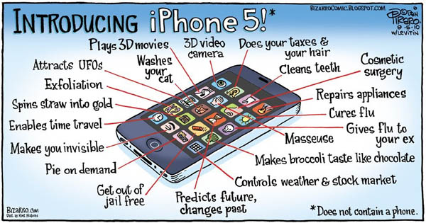 dessin satirique - fonctions de l'iphone 5