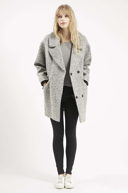 grey boucle coat, oversized grey wool coat,