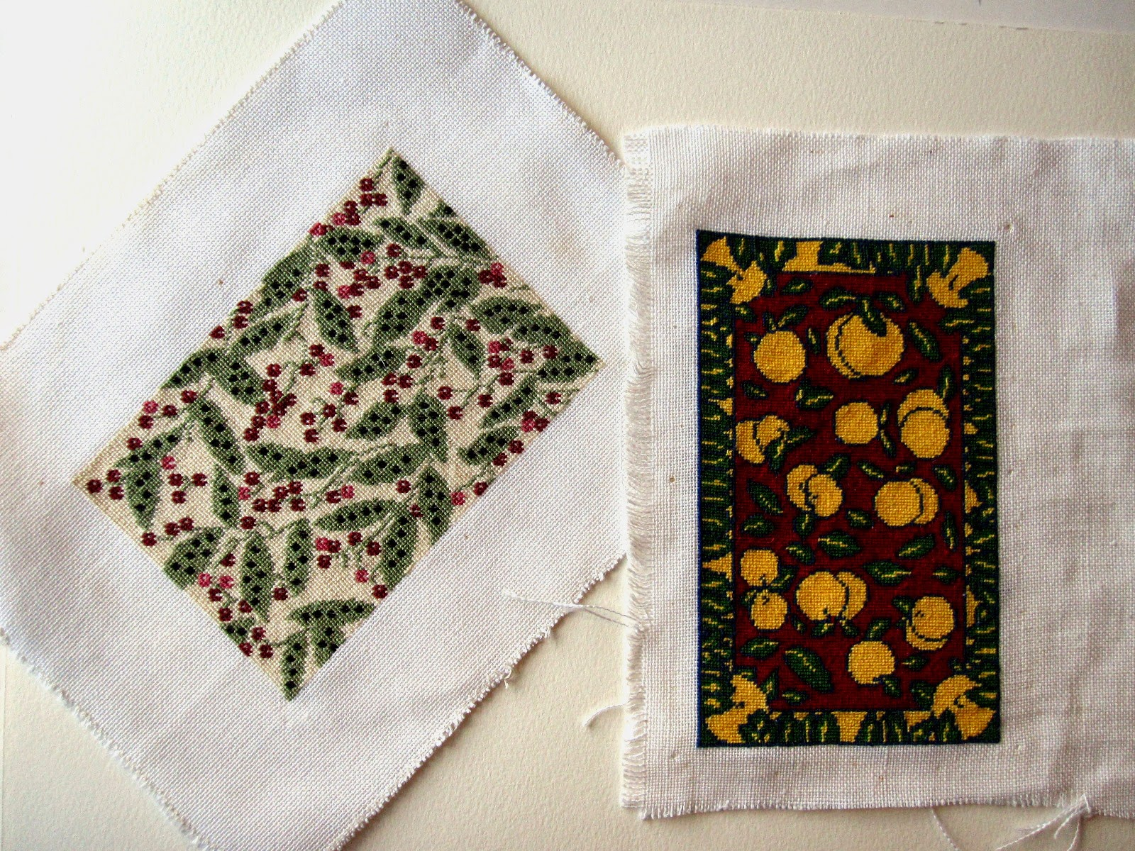 Two unfinished stitched dolls' house miniature rugs,