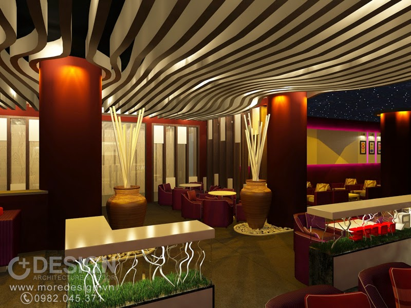 Thiết kế nội thất khu cafe ở tầng trệt