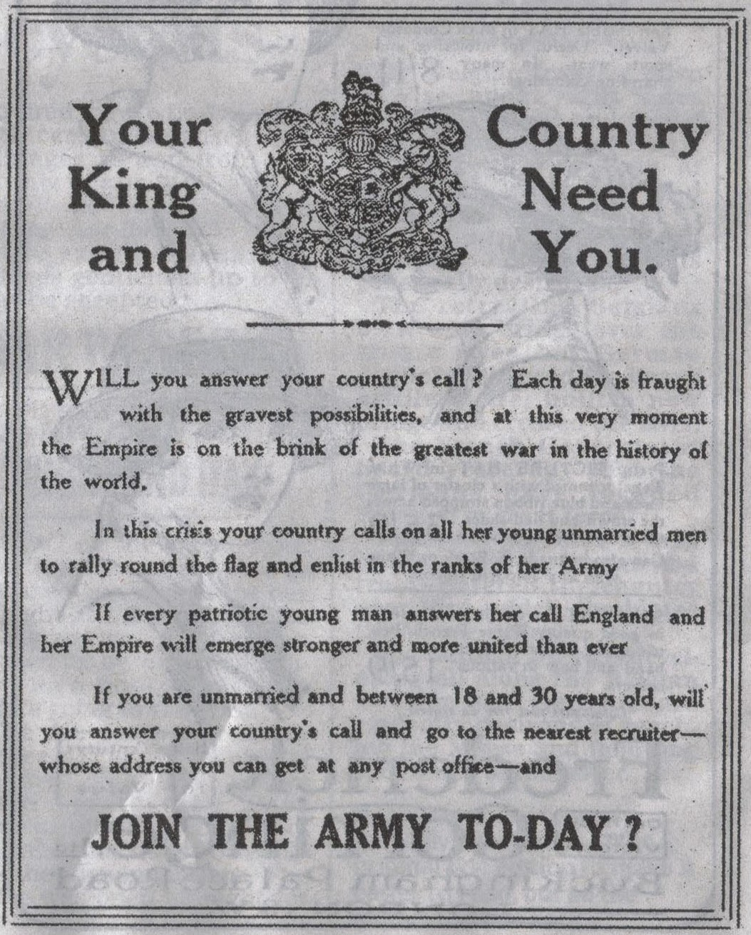 1914 Join the Army advert