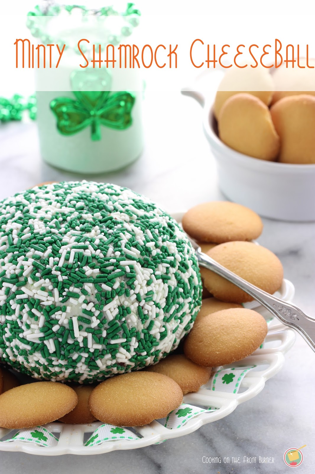 Minty Shamrock Cheeseball | Cooking on the Front Burner #stpattysday #shamrockdessert
