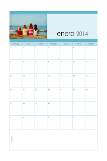 Calendario mensual 2014 con foto, lunes a domingo, Publisher