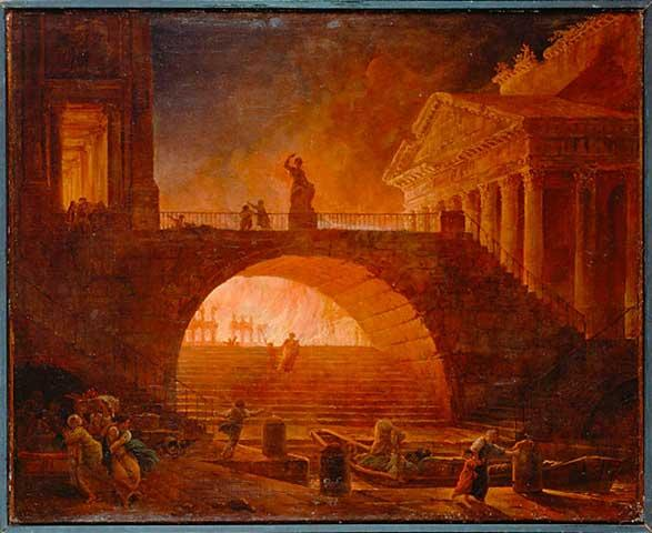 Pintura que representa el Incendio de Roma Obra de Robert Hubert