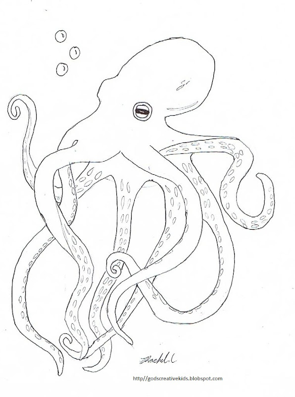 Octopus~Coloring Page~ By Rachel.L title=