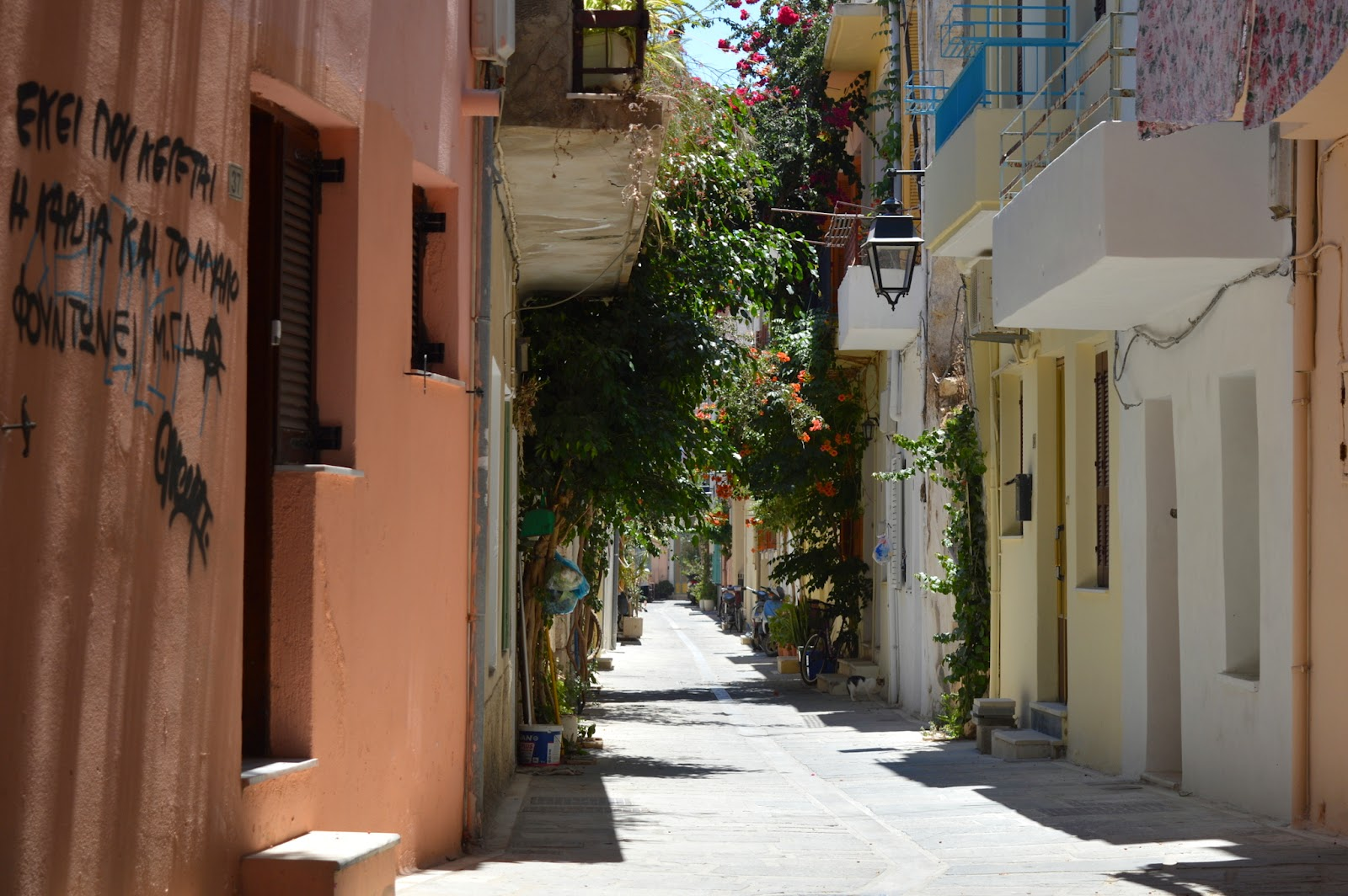 One of the many small streets in Rethimno from the beautiful island of Crete in Greece.