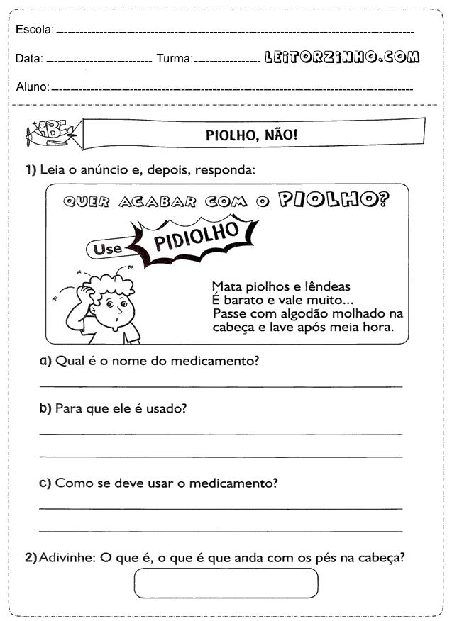 Excepcional Leitores: Atividades de português 3° ano interpretação de texto XW79