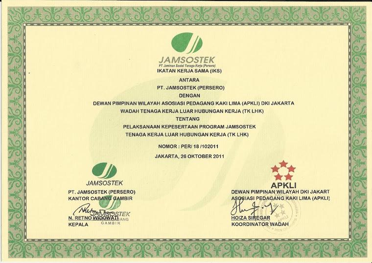 Surat Ikatan Kerjasama Antara DPW APKLI DKI dan JAMSOSTEK
