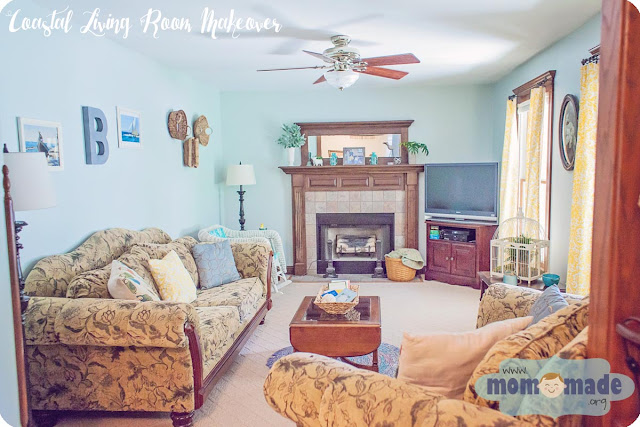 Coastal Living Room Makeover by Mom-Made