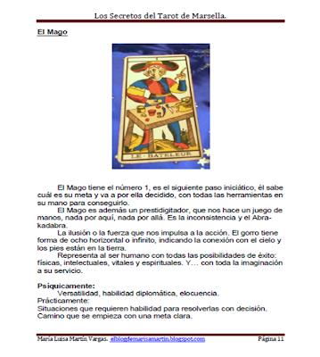 Descripción del Arcano I- El Mago del libro Los Secretos del Tarot de Marsella