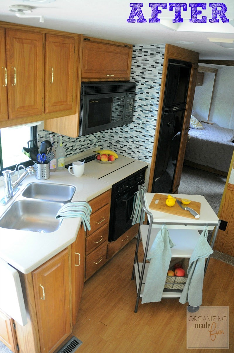 RV makeover after of kitchen :: OrganizingMadeFun.com
