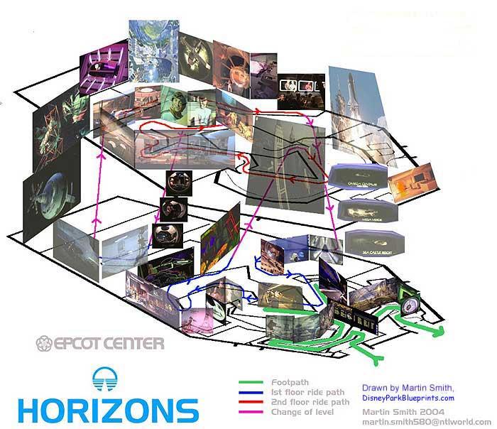 Disney Park Blueprints Horizons EPCOT FLUS - Us map blueprint
