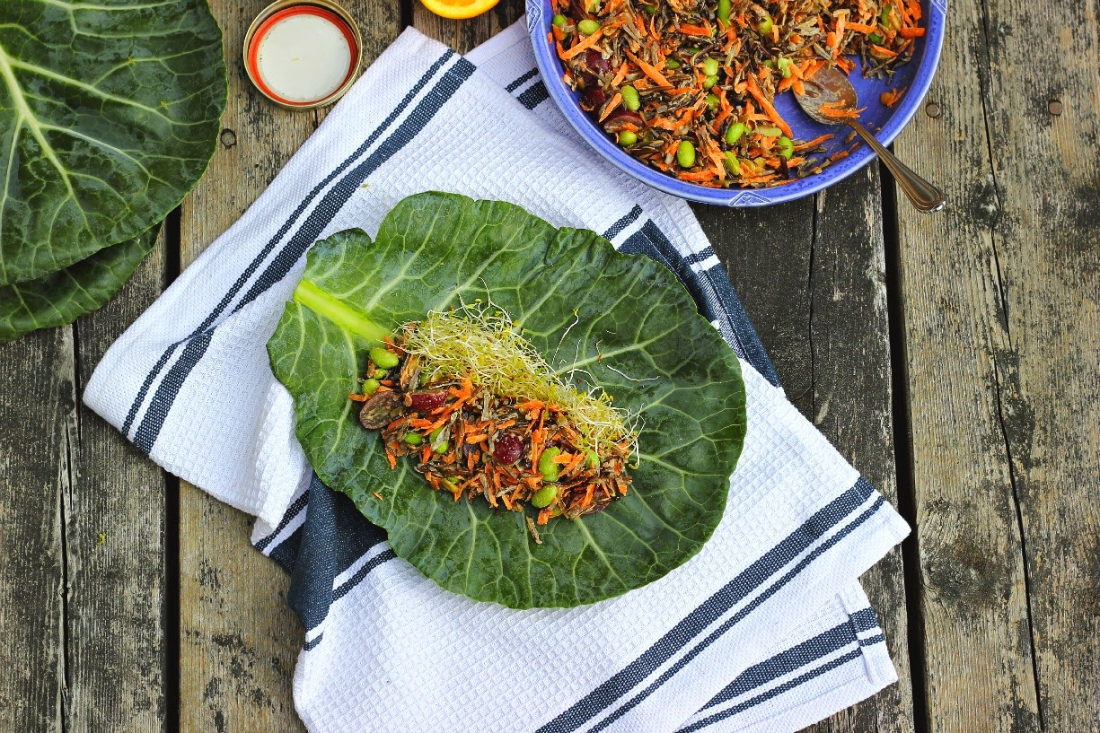 Collard Wraps with Wild Rice Salad + Orange Tahini Dressing ⎮ happy hearted kitchen