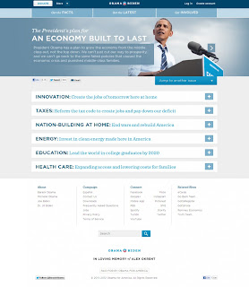 Barack Obama web - Screenshot taken on the 06/11/12