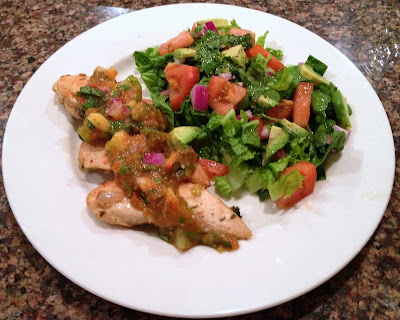 Cilantro lime chicken with peach salsa