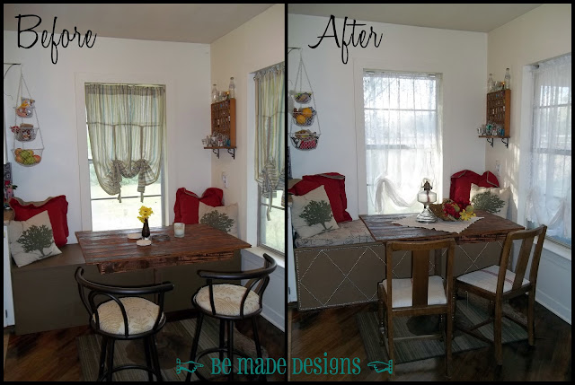 Breakfast Table Window Seat Redo Before & After {be made designs}