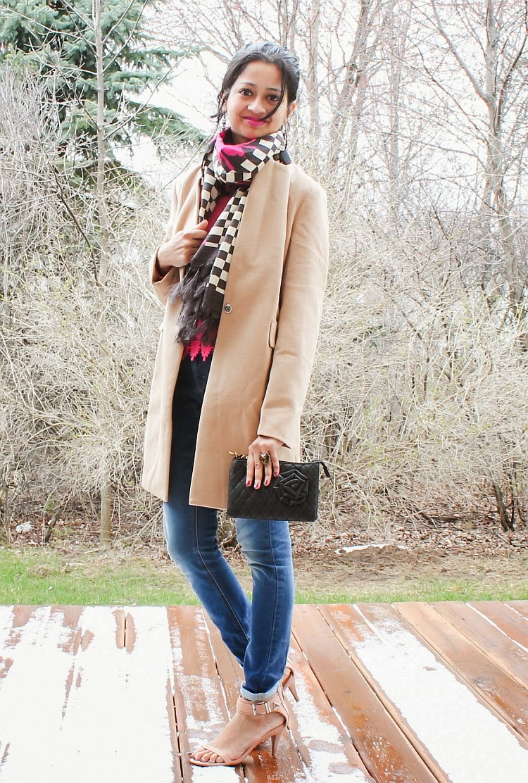 What I wore, Outfit, Winter Style, Winter coat, statement scarf, knit sweater, lace, ankle strap sandals, quilted clutch, how to wear woolen coat