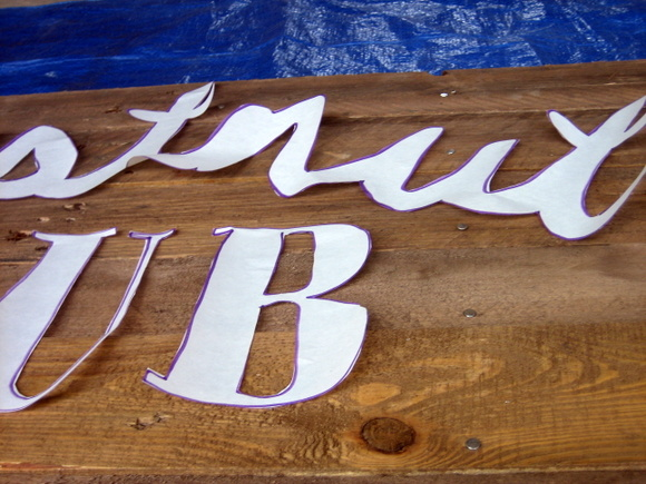 Here is a close-up of the stencil for the text on my DIY pallet sign