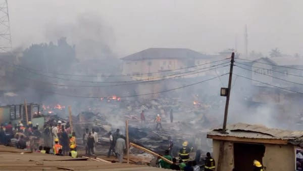 Sad: Ketu Plank Market Lagos Goes Up In Flames, Millions Of Naira In Properties Destroyed (Photos)