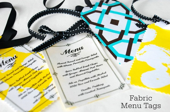 Make your wedding menu printing it onto a beautiful fabric!