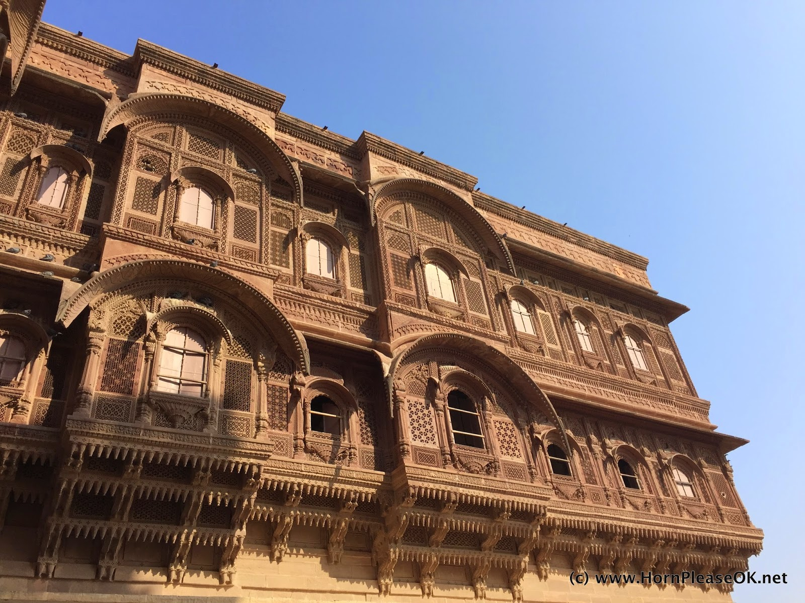 Palaces overlooking the coronation hall in Mehrangarh Fort