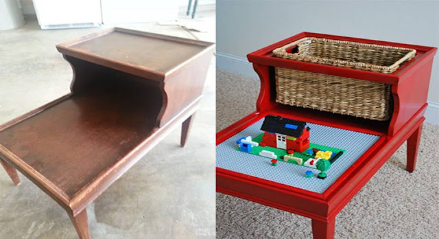 Creative DIY Lego Table design idea, LEGO, LEGO Architecture, handmade, learn decor, renew table, renew old furniture
