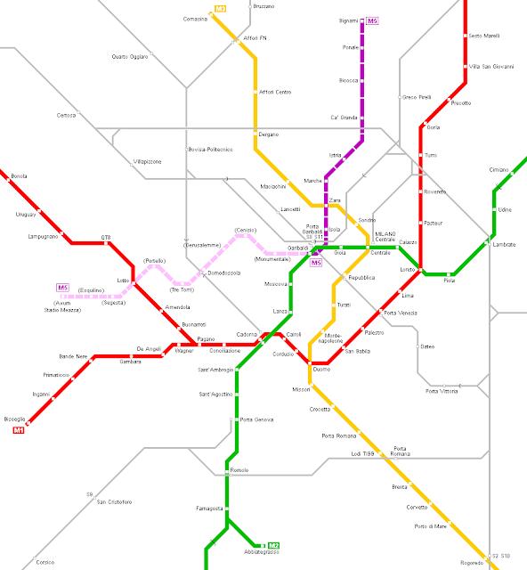 Mappa della città di Milano