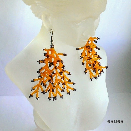 Coraling Beadwork Dangle Seed Bead Earrings
