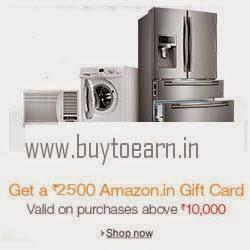 Amazon: Buy (Large Appliances) Air Conditioners, Dishwashers, Refrigerators & Washing Machines Extra 25% OFF + Rs.1000 Amazon Gift Card