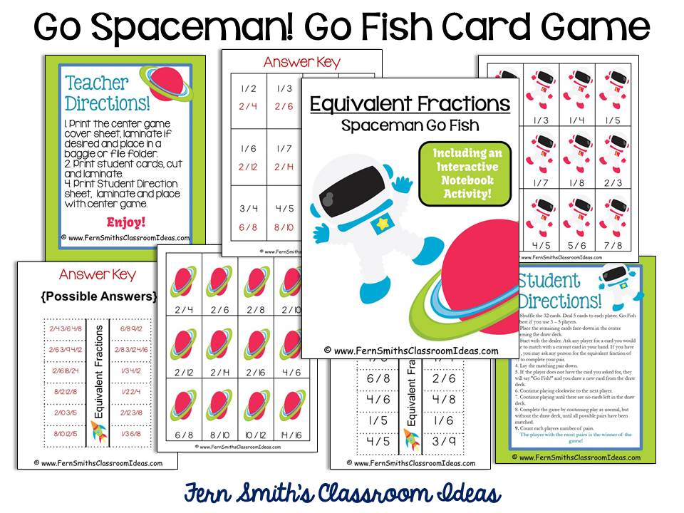 Fern Smith's FREE Go Spaceman Equivalent Fractions Go Fish Card Game at ClassroomFreebies Blog.
