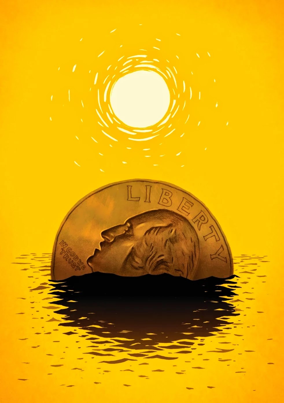Sinking coin (Credit: Skip Sterling for The Washington Post) Click to enlarge.