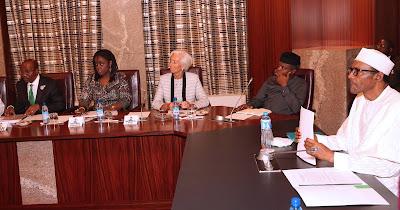 Christine Lagarde and President Buhari's economic team