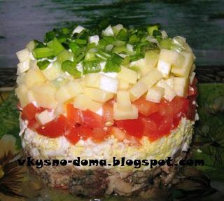 Салат с рыбой консервированной и помидорами