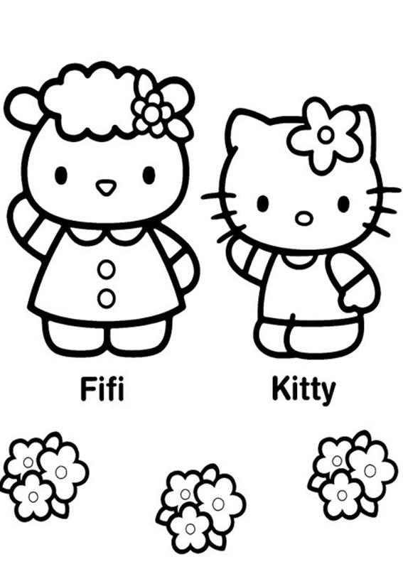Desenhos Preto e Branco Hello Kitty Colorir