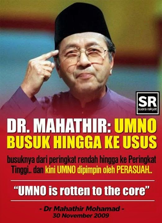 MAHTHIR: UMNO IS ROTTEN TILL INTENTINES