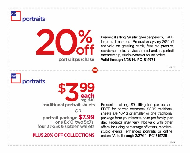 Jcpenney portrait coupons printable no sitting fee