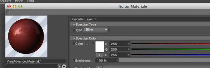 riflessione specular layer materiali vray